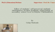 Ph.D. Defence Thesis on Effect of Students' Self-Perceived Multiple Intelligences on their Academic